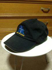 ランズエンド 刺繍 ワークキャップ つば帽子 黒 本革ベルト調節 アウトドア 古着