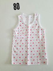 白にピンクハート袖無しシャツ