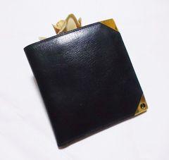 美品ダンヒル/dunhill革製二つ折り財布.・ブラック
