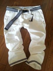 W91◆白ホワイト◆半端丈パンツ◆新品◆ベルト付◆カジュアル◆マリン系◆