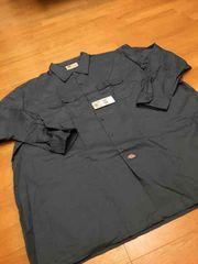 LA直輸入  Dickies  ディッキーズ長袖ワークシャツ size4XL チャコールグレー