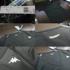 送料込(L黒)カッパ KM512UT73 半袖インナーシャツ 薄手 メッシュ 伸縮 V首