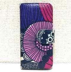 マリメッコ柄 iPhone5 5s SE ケース カバー 紫 パープル ピンク