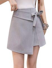 ハイウエスト ラップ巻スカート風 インナー付(XL寸・灰)