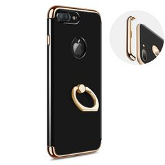 iPhone7ケース リング スタンド ジェットブラック