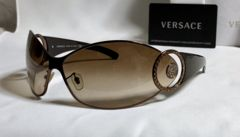 正規美 ヴェルサーチVERSACE メデューサメタルサングラス ブロンズゴールド 付属有