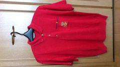 訳あり激安97%オフライカ、半袖ポロシャツ(赤、麻、日本製、L)