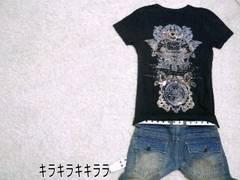 ●MIDAS●グラフィック箔プリント*TeeシャツブラックL