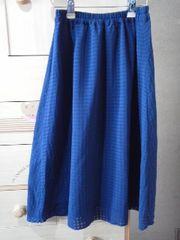 ネイビーのフレアースカート《L》Wゴム/送料250円