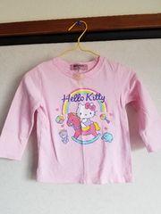 うすピンクにキティと虹の長袖Tシャツ90