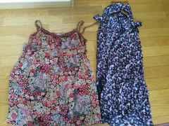 中古 ブランド服 イタリア製 ワンピース 二点 セット サテン 花柄