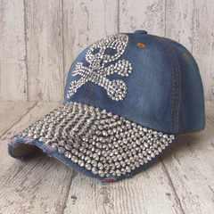 帽子♪スカル ラインストーン キャップ デニム