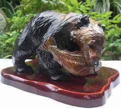 置き物/コレクション:民芸彫り自然木「仔熊,鮭喰え」中古品!!No4