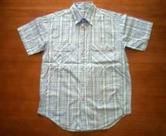 マドラスチェック柄の半袖ネルシャツ★Lサイズ★水色Blue