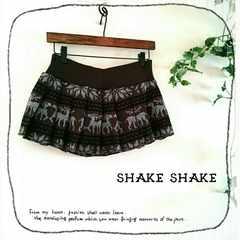 ((SHAKE SHAKE/シェイクシェイク))インナーパンツ付♪ノルディック柄プリーツニットスカパン