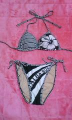 ALBA ROSA アルバ 一番人気 三角ビキニ水着 ブラック ホワイト ロゴ 美品