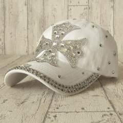 帽子♪ビジュー デコ キャップ クロス ホワイト
