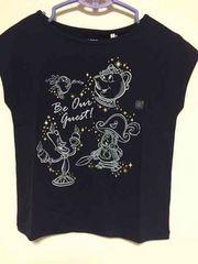 新品!UNIQLO 美女と野獣 ポット夫人 ネイビー色 Tシャツ M