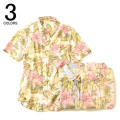 花柄シャツ半袖ボタンダウンシャツM◆キスマイサロン