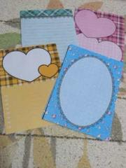 バラ売りハガキサイズメモ帳4種類×5枚 ハートチェック