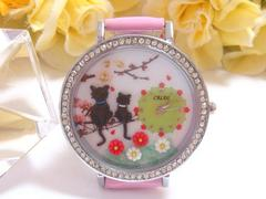 ★1スタ可愛い3D時計(2匹の黒猫