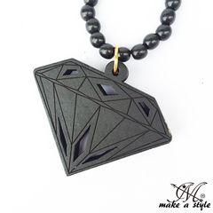 ダイヤモンド 宝石 ウッドネックレス 黒 B系 261
