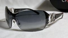 正規良レア シャネルCHANEL ダブルココマークロゴスポーティー メタルサングラス黒×シルバー