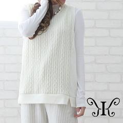 529-262300大きいサイズ☆ケーブルニットベスト☆4L/ホワイト