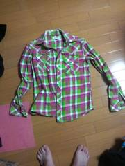 美品ビーチサウンドpinkバナナセブン長袖ネルシャツ黄緑ピンクボディグローブ・送0