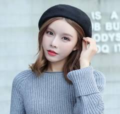 新品 帽子 ふわふわベレー帽 シンプル ブラック