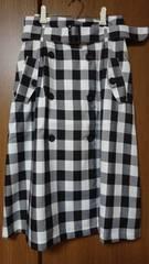 【ハニーズ】スカート*ブロックチェック*白×黒*L