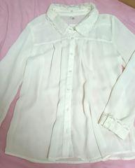 シフォンブラウス☆刺繍襟
