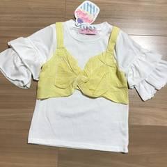 新品タグ付き110半袖〜5分袖 Tシャツ黄色チェック�C