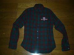 TMTチェックシャツM緑系ワッペン付きティーエムティー