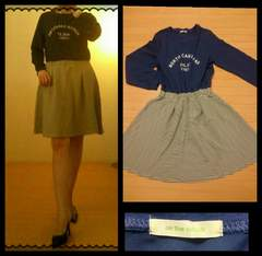 on the couth☆casual ロゴ&ボーダー フレアワンピース M