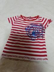 フリル付きストライプのかわいいTシャツ140�p