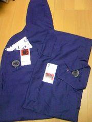 鳶カセヤマ☆ポリヘリンボン紫手甲シャツL、超超81cm