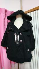 新タグ大きいサイズ3L 黒 裏毛フードポンチョジャケット