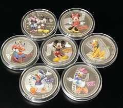 貴重!ディズニー ミッキー ミニー キャラクター カラー銀貨7枚