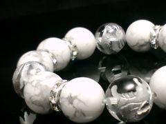 手彫銀四神獣水晶xハウライト銀ロンデル14ミリ数珠
