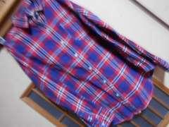 グローバルワーク*長袖チェックシャツS*ナチュラル*クリックポスト164円