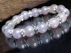 フラッシュローズクォーツ10ミリ銀ロンデル数珠