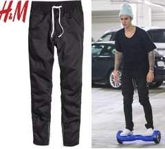 新品 H&M 裾サイドジップ ジョガーパンツ 黒W30 M ジャスティンビーバー