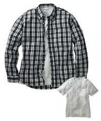 5Lサイズ高貴紳士的!長袖濃紺チェック!シャツand半袖!白Tシャツ!セット!新品!