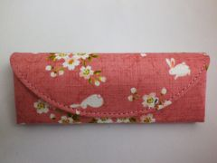 和小物 和柄ワンタッチ眼鏡めがねメガネケース桜うさぎピンク