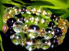 ピンクオーラ12ミリ§128面カット水晶アメジスト10ミリ金ロンデル数珠