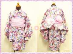 ★女児★花柄浴衣/帯付き 100 (ピンク)
