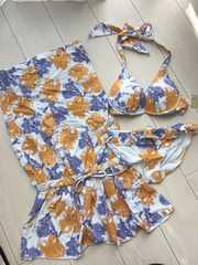 新品タグ付エメフィール花柄フラワー水着ビキニ白オレンジワンピース付3点セット