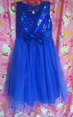 美品!可愛いスパンコールのブルーのドレス!140センチ