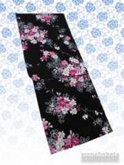 【和の志】女性用変わり織り浴衣◇F◇黒系・小花◇KW-204
